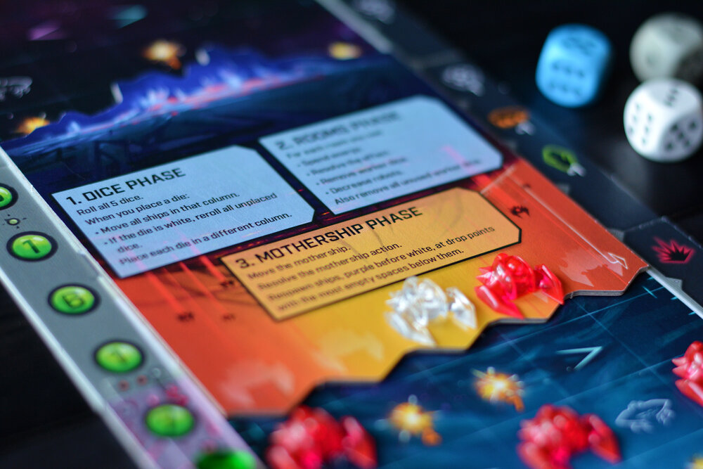 I really whish that Czech Games Edition had put the player aid anywhere else than on the back of the mothership tile. Photo: Fredrik Schulz