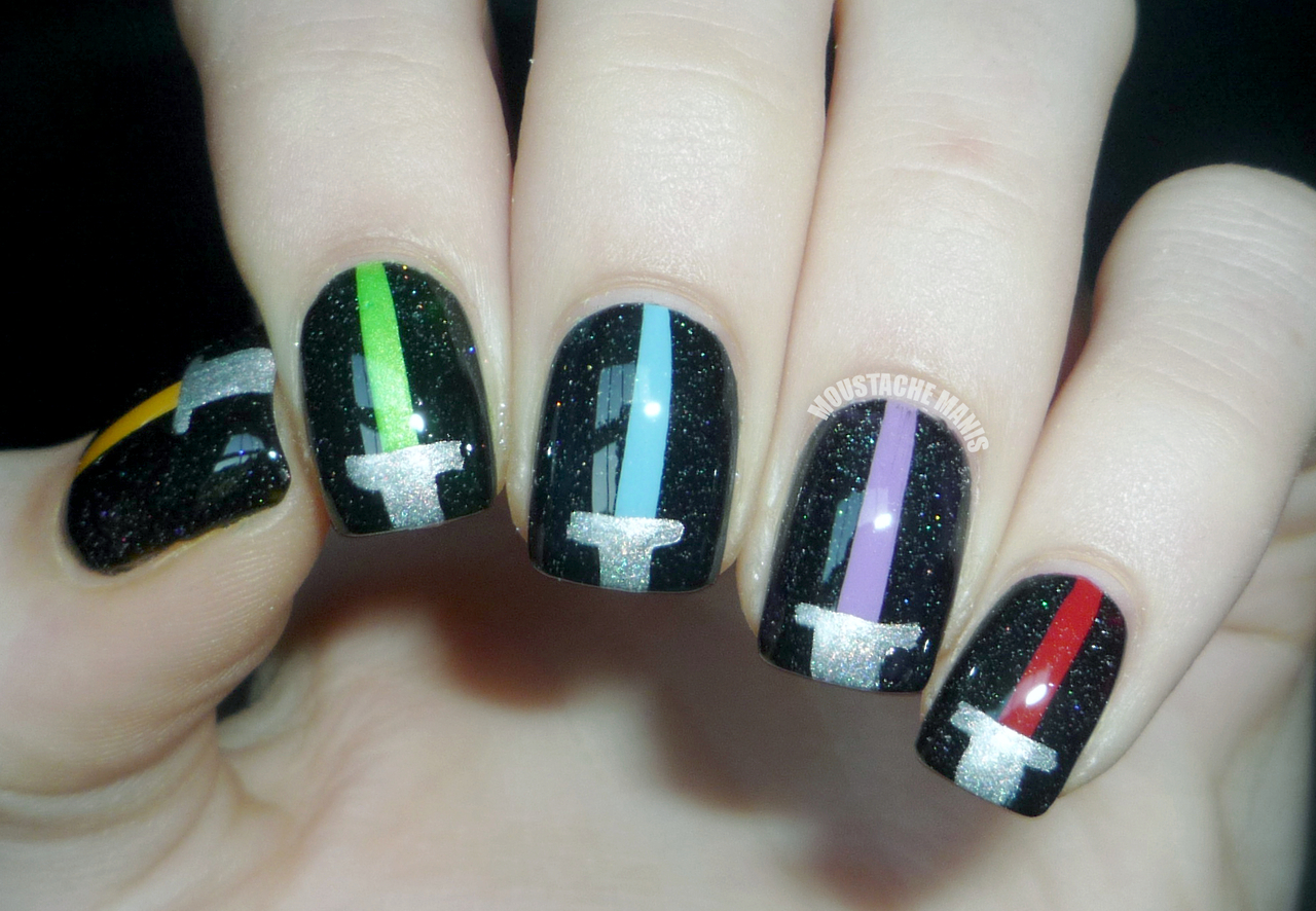 Lightsaber Nails by Moustache Manis