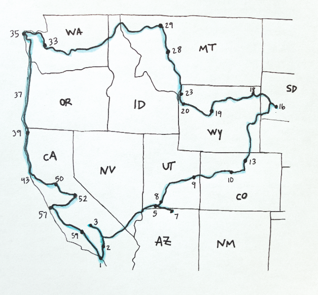 Our planned route though western North America.