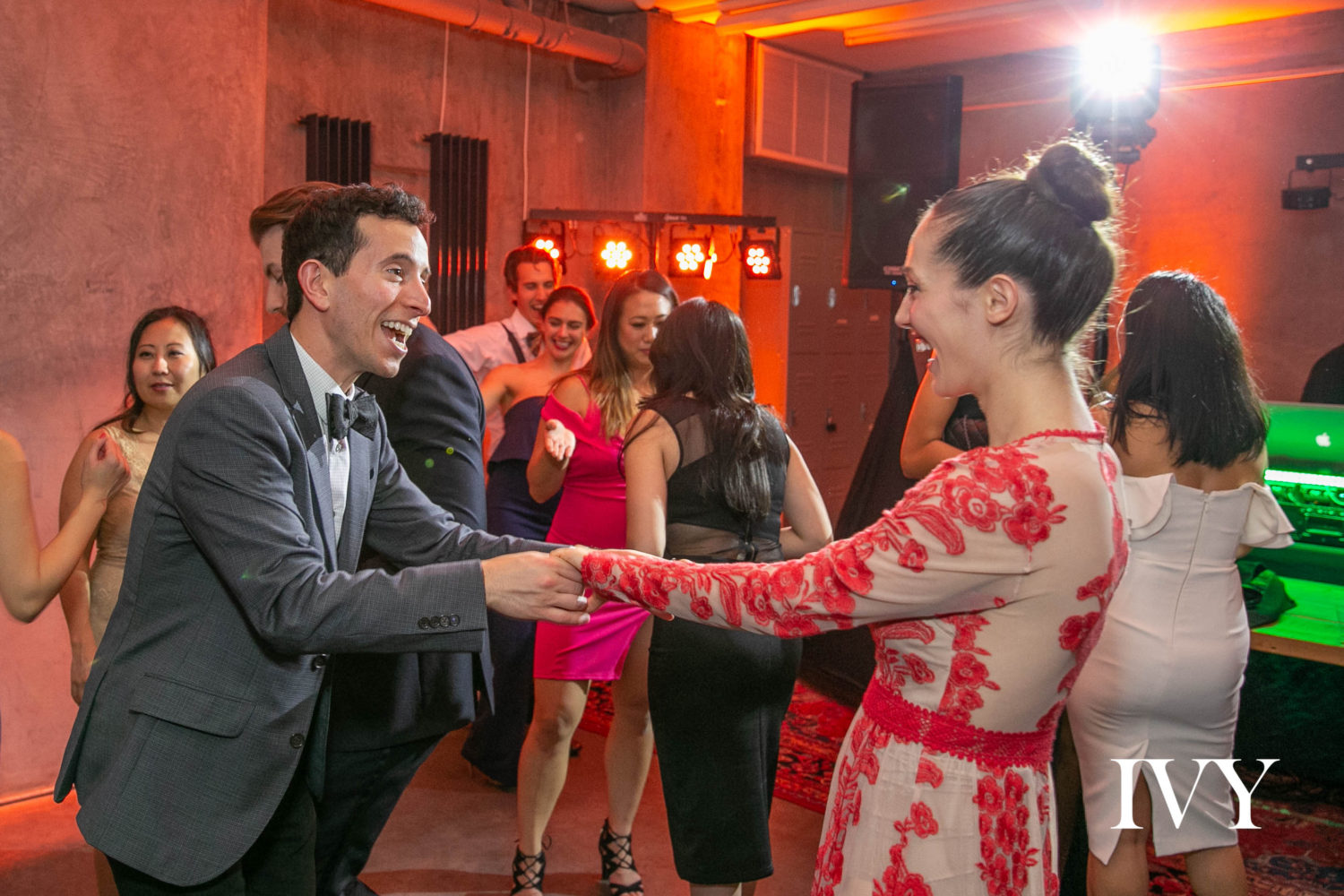 Merrill celebrates the joy of dancing at the IVY Winter Gala with her boyfriend Sam Kahane.