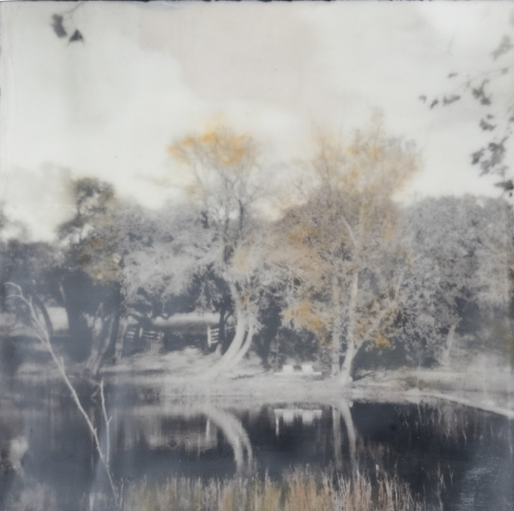The Swings on Onion Creek       Captured with a Holga Camera, Ilford 120 film.  Hand colored Encaustic print