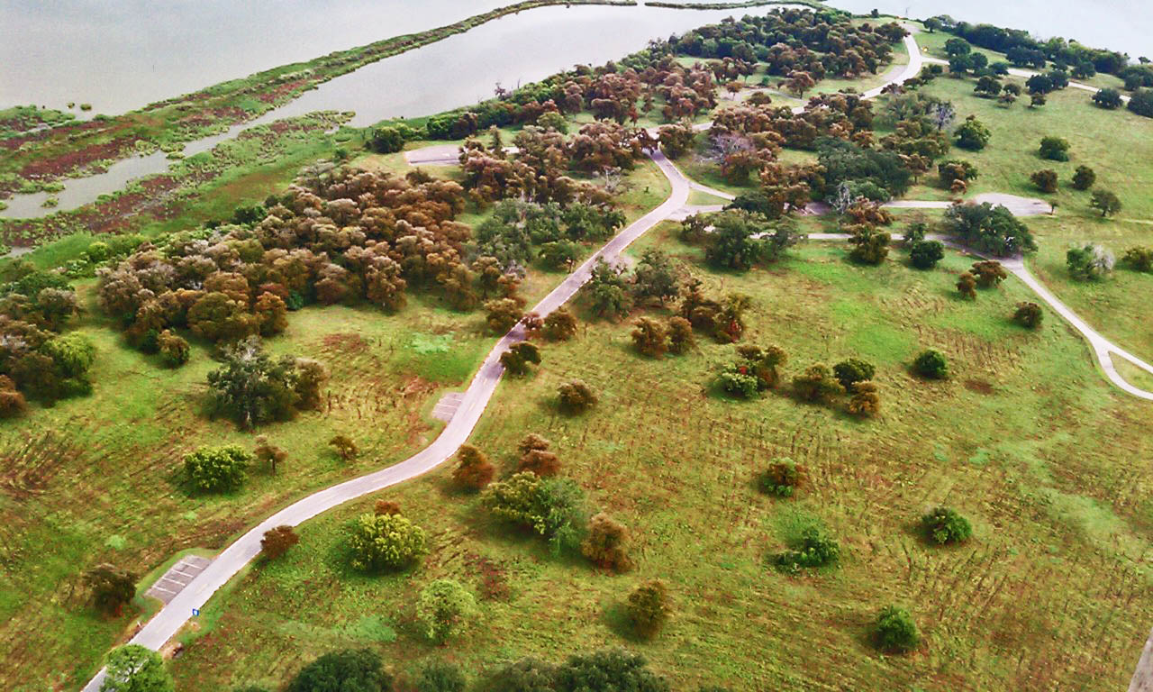 A view of a portion of the San Jacinto battlefield from the monument observation deck.