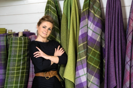 Clare Campbell, bespoke tartan designer and owner of Prickly Thistle. Oh, and her maiden name is MacDonald. Remember my observation above?