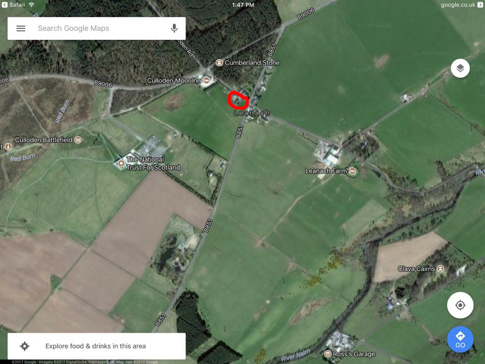 My Airbnb accommodation is circled in red. Note the location of the nearby Cumberland stone, the Culloden Moor Inn, and the NTS Visitor Center.