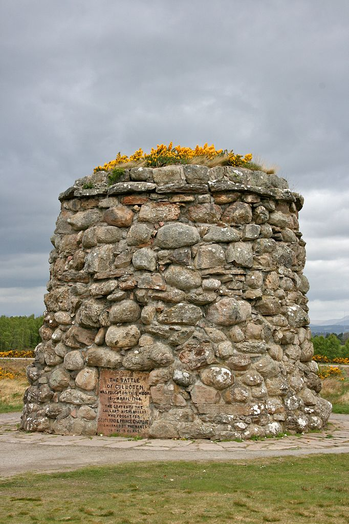 This 20 foot tall stone cairn was erected in 1881 by then Laird of Culloden, Duncan Forbes. He was also responsible for placement of the various clan headstones that mark the mass graves of the fallen Jacobites. The grave(s) of the Loyalist troops remain unmarked.
