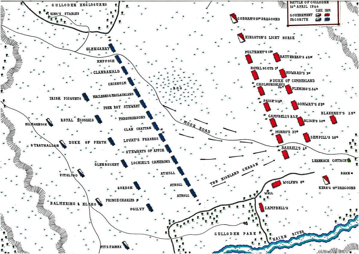 Map of the battle lines at Culloden by John Fawkes. Source:BritishBattles.com