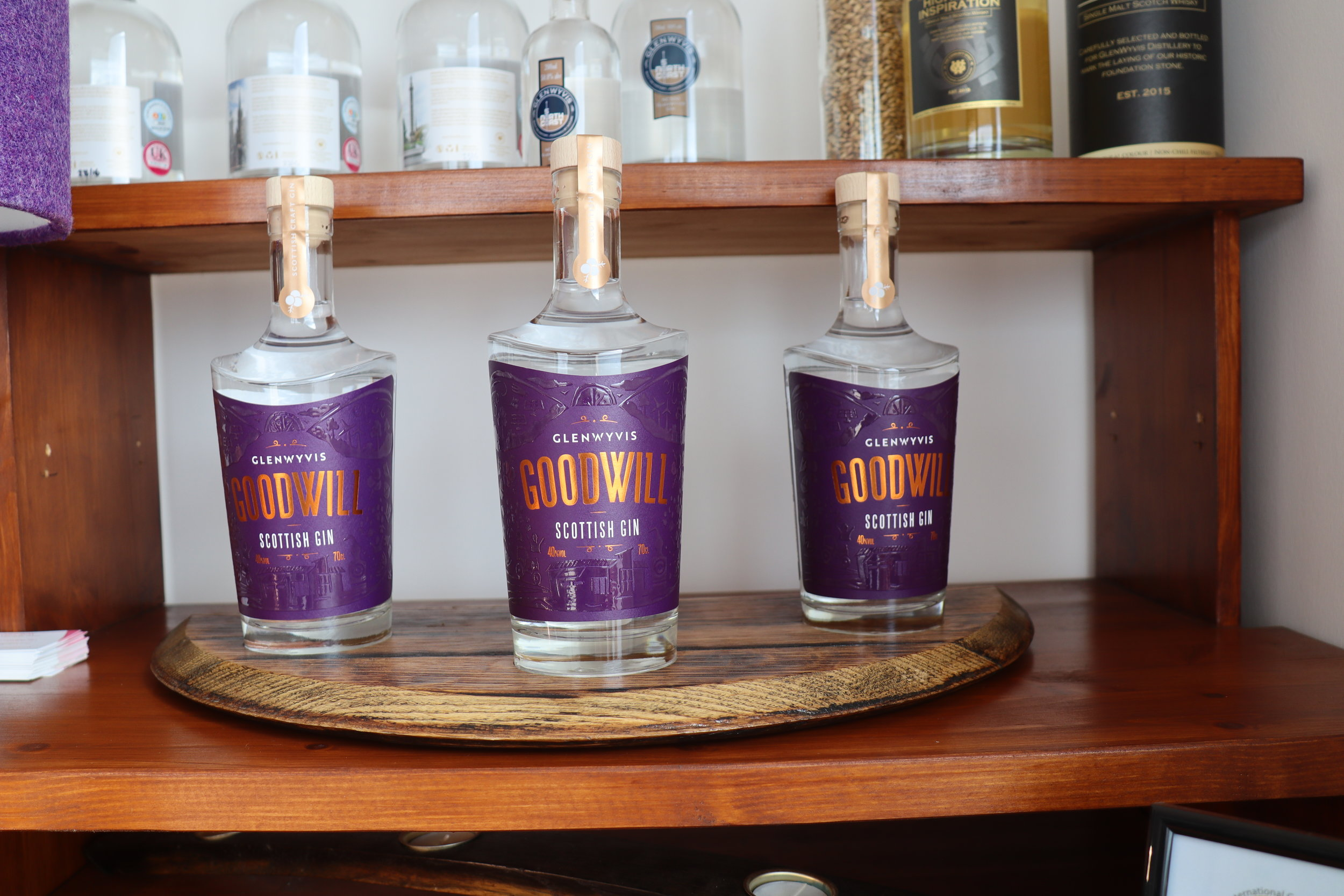 """"""" GOODWILL"""" is the new,locally distilled gin offering from GlenWyvis, it features nine botanicals including locally picked hawthorn and is available at a growing number of stockists and the distillery's online shop."""