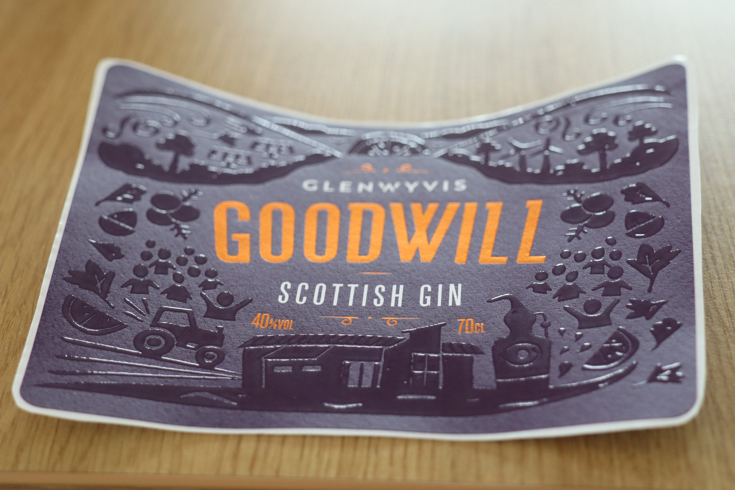 The GOODWILL label includes a tactile embossing that highlights the many elements of the GlenWyvis story.