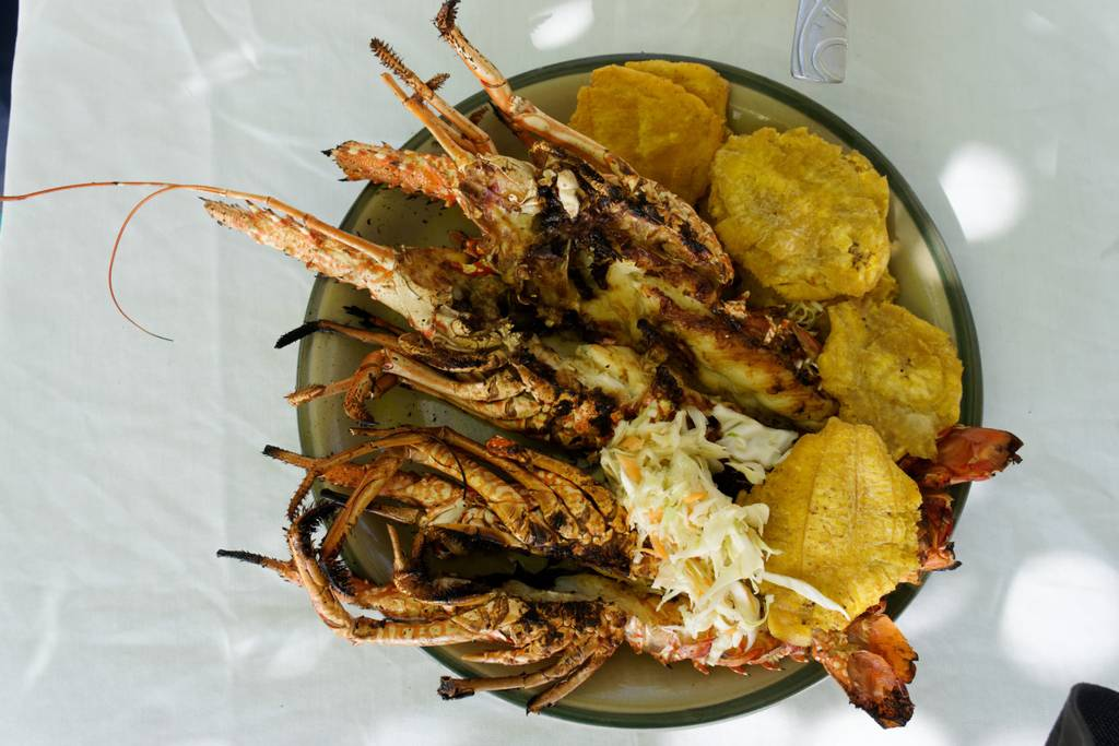Local flavors - Freshly grilled rock lobster, plaintain and spicy slaw