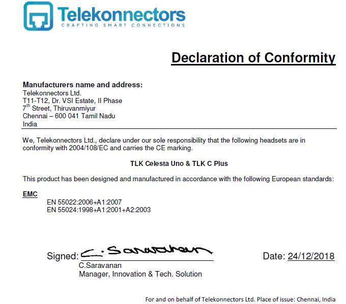 Declaration of Conformity - TLK Celesta & C Plus.JPG