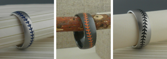 Our baseball wedding rings have become a favorite among the avid baseball player, coach and enthusiastic fan. The domed profile is perfect for the baseball shape and the detailed stitches are marvelous.  It's all in the stitching! With Cerakote color finishes, there are over 90 colors to choose from for your baseball wedding ring. Match up colors from major and minor leagues, college, high school or even your own local league. Want to add a second team color? Cerakote can be added to the inside of the ring for a cool contrast.  Check out the colors