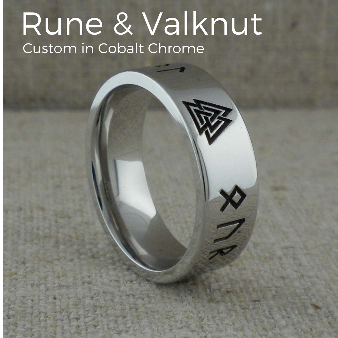 Custom Rune & Valknut Wedding Ring