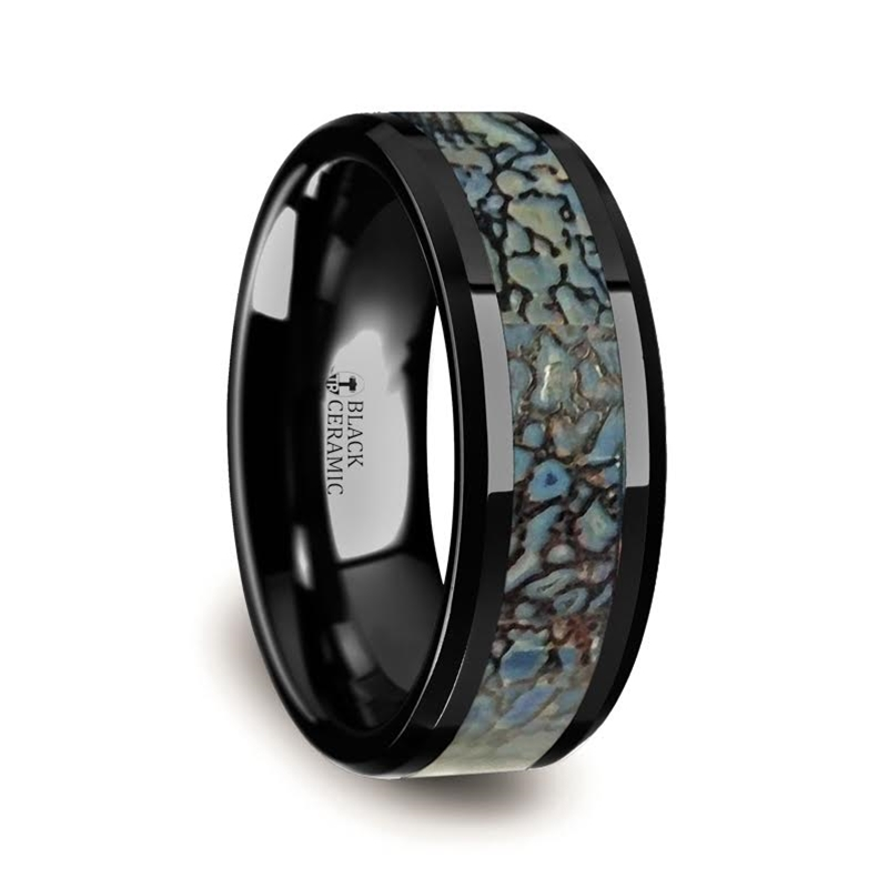 PERMIAN Blue Dinosaur Bone & Black Ceramic Wedding Ring