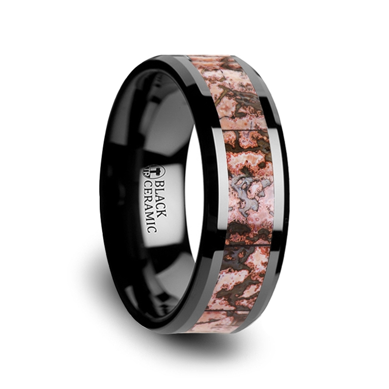 Cambrian Pink Dinosaur Bone & Black Ceramic Wedding Ring