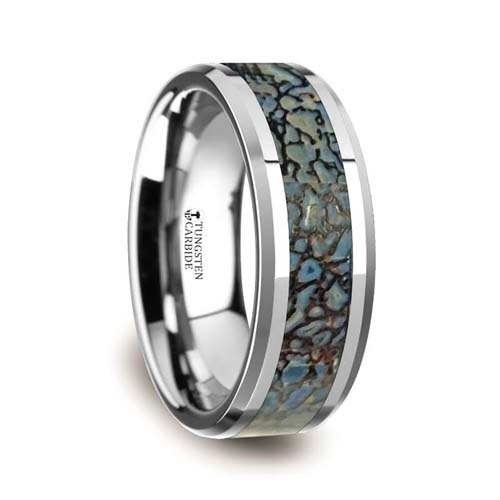 Devonian Blue Dinosaur Bone Wedding Ring