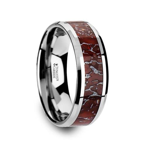 Jurassic Red Dinosaur Bone Inlaid Thorsten Wedding Ring