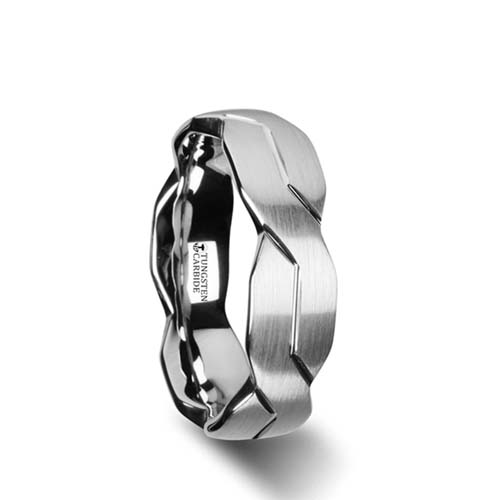 Thorsten Brushed Carved Infinity Tungsten Wedding Ring
