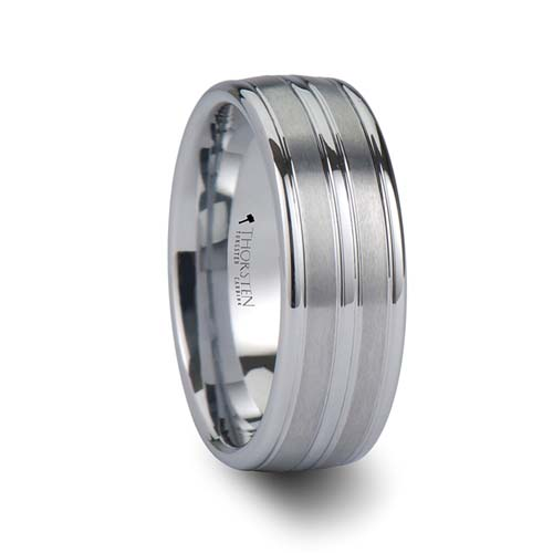 Vancouver Triple Grooved White Tungsten Wedding Ring