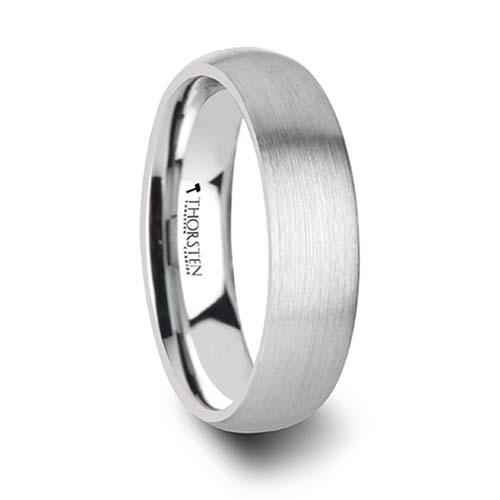 Pythius Round Brushed White Tungsten Wedding Ring