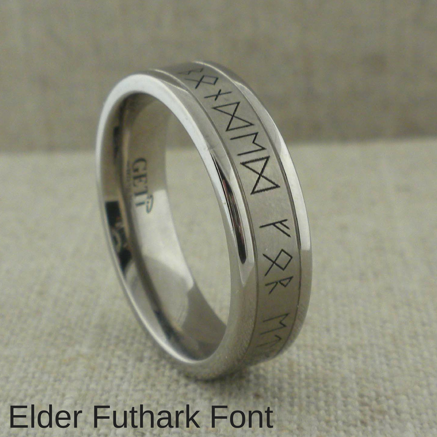 8mm Tungsten Wedding Band Tungsten Promise Ring Viking Futhark Runes With Vegvisir Viking Guidance Compass Symbol Personalized Custom Ring
