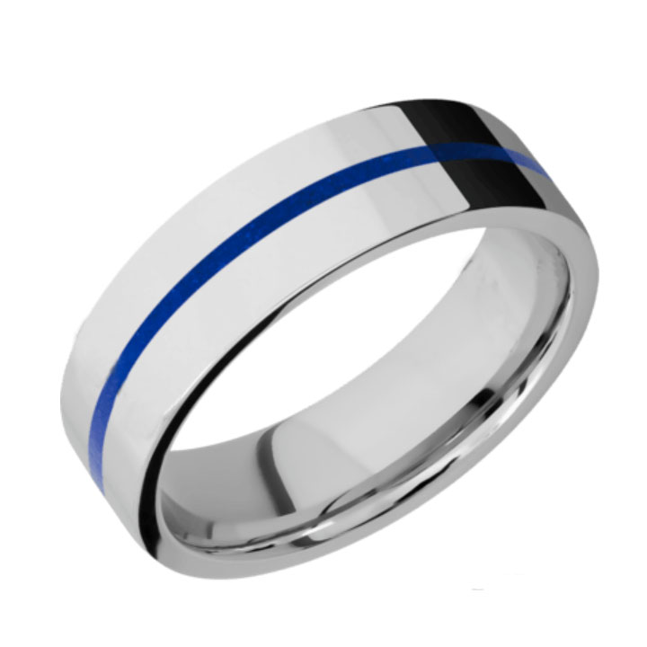 Blue & Polished Finish Thin Blue Line Cobalt Chrome