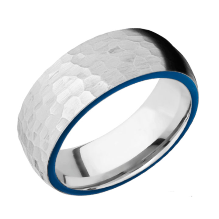Side Blue & Hammered Finish Cobalt Chrome Thin Blue Line Wedding Ring