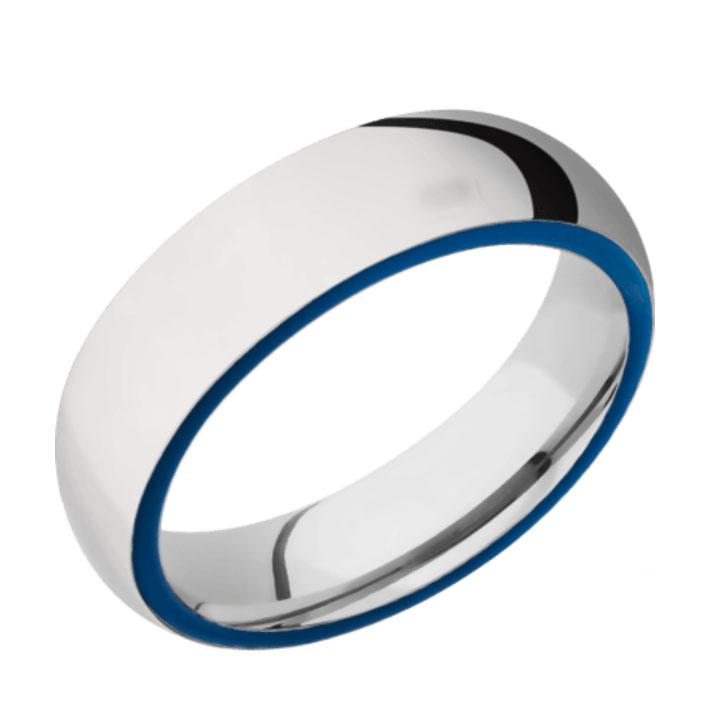 Side Blue & Polished Finish Cobalt Chrome Thin Blue Line Wedding Ring