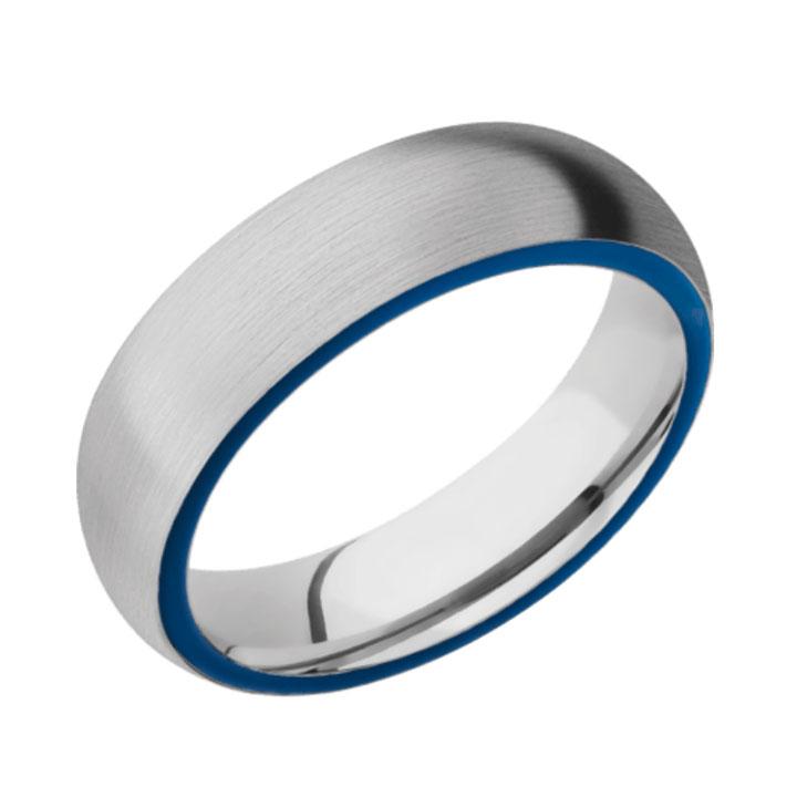 Side Blue & Satin Finish Cobalt Chrome Thin Blue Line Wedding Ring
