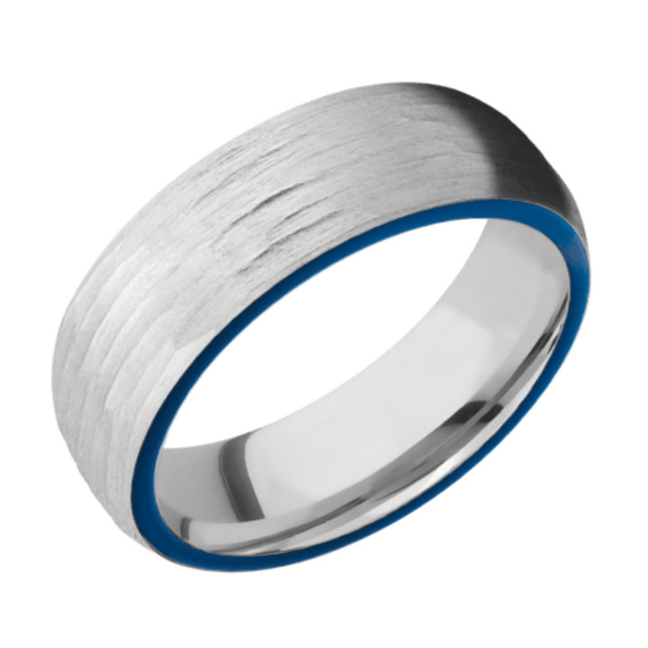 Side Blue & Tree Bark Finish Cobalt Chrome Thin Blue Line Wedding Ring