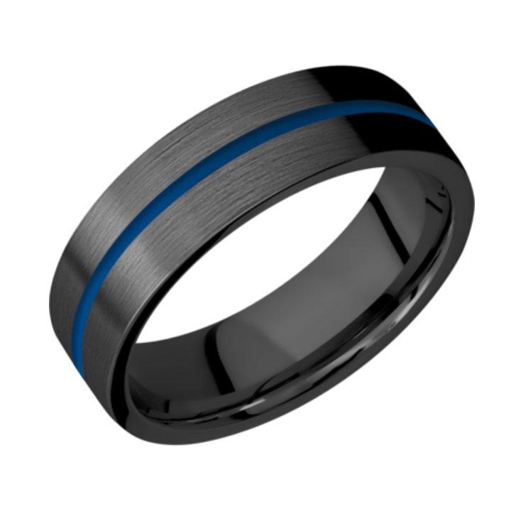 Blue & Satin Finish Thin Blue Line Black Zirconium Wedding Ring