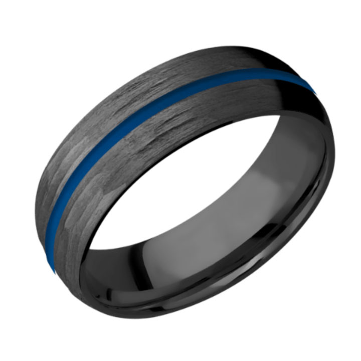 Blue & Tree Bark Finish Domed Thin Blue Line Wedding Ring
