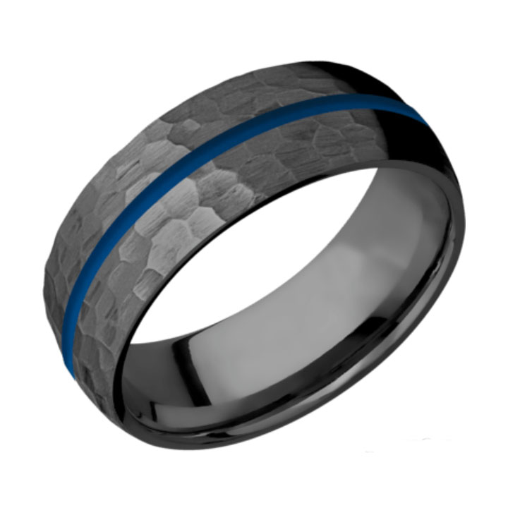 Blue & Hammered Finish Domed Thin Blue Line Wedding Ring