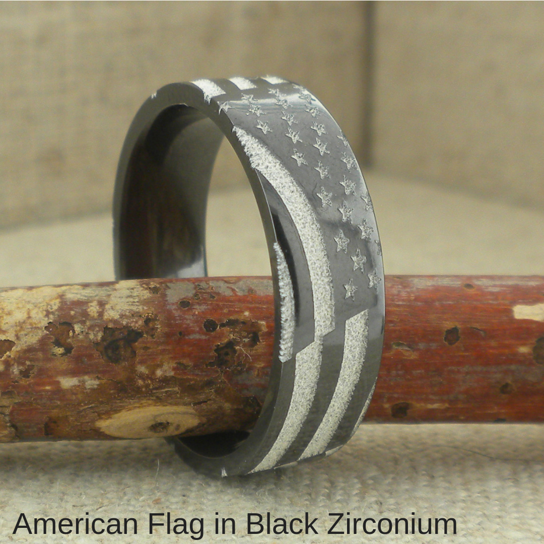 Black Zirconium American Flag Wedding Ring