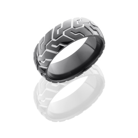Motorcycle Wedding Ring in Black Zirconium