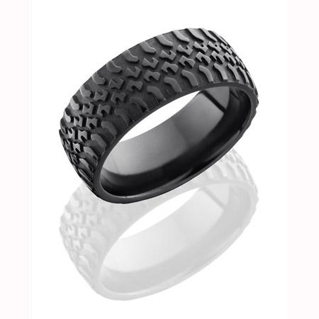 Black Zirconium Truck Tire Tread Wedding Ring