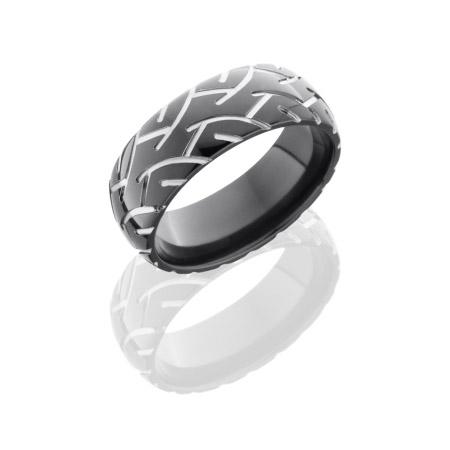 Motorcycle Tire Tread Wedding Ring in Black Zirconium