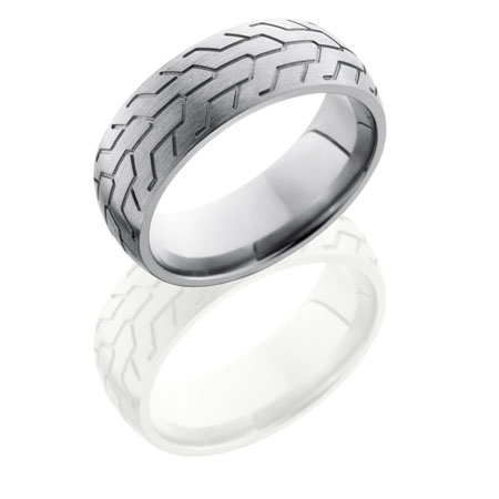Titanium Motorcycle Tire Tread Wedding Ring