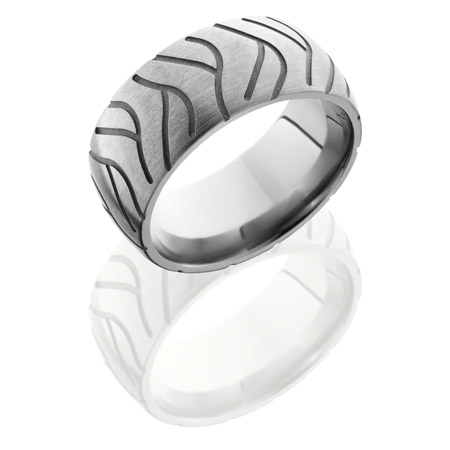 Titanium Super Cycle Tire Tread Wedding Ring