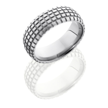 Cycle Trails Tire Tread Wedding Ring in Titanium