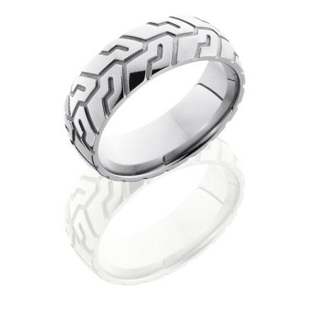 Motorcycle Tire Tread Wedding Ring in Titanium