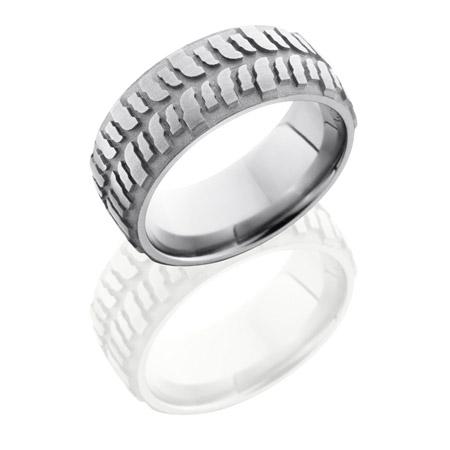 Bogger Tire Tread Titanium Wedding Ring