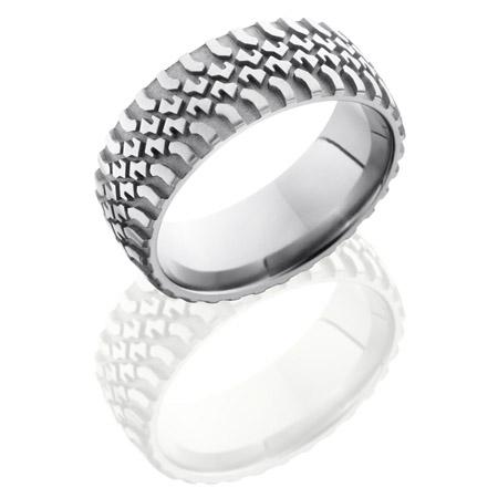 Truck Tire Tread Titanium Wedding Ring