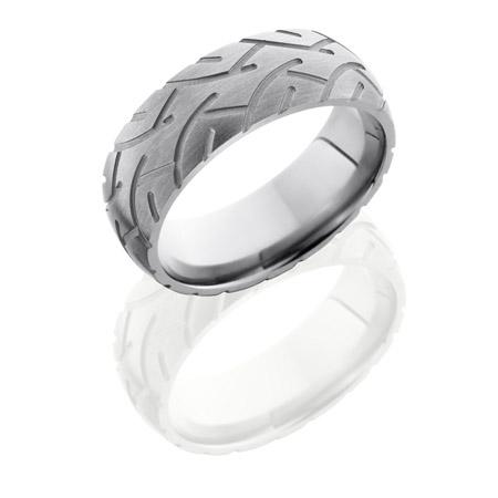 Motorcycle Tire Tread Titanium Wedding Ring
