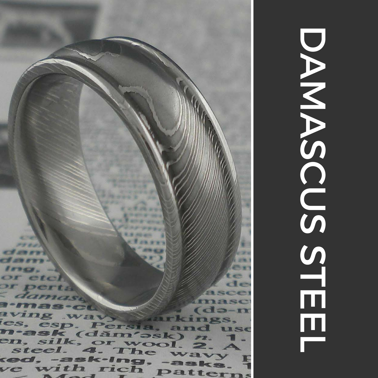 "Damascus Steel Wedding Rings   The following is placeholder text known as ""lorem ipsum,"" which is scrambled Latin used by designers to mimic real copy. Donec eget risus diam. Nullam sit amet nisi condimentum erat iaculis auctor."