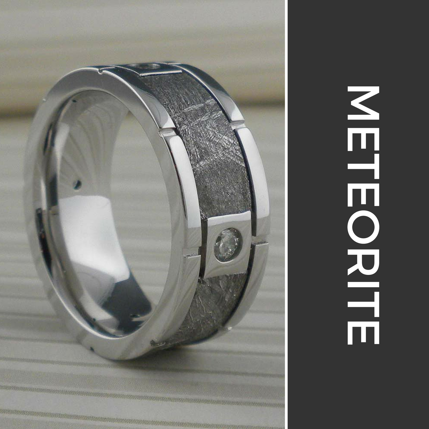 "Meteorite Wedding Rings   The following is placeholder text known as ""lorem ipsum,"" which is scrambled Latin used by designers to mimic real copy. Mauris egestas at nibh nec finibus. Donec ac fringilla turpis. Phasellus sodales massa malesuada tellus fringilla, nec bibendum tellus blandit."