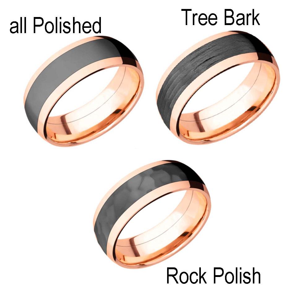 Rose Gold Wedding Rings with Black Zirconium Inlay