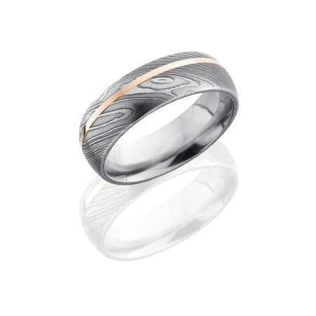Damascus Steel Wedding Ring with Off-Center 14K Rose Inlay