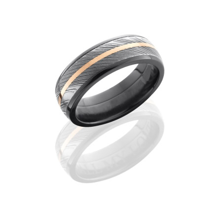 Black Zirconium and Damascus Steel with 14K Rose Gold
