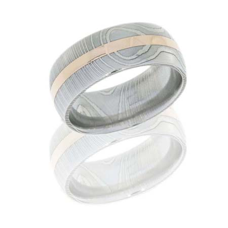 9 mm Damascus Steel Wedding Ring with Rose Gold Inlay