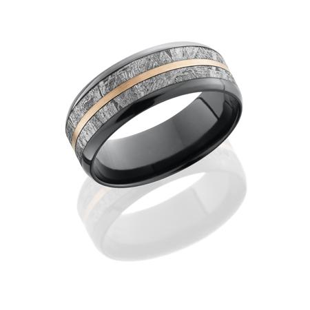 Black Zirconium & Meteorite Wedding Ring with 14K Rose Gold Inlay
